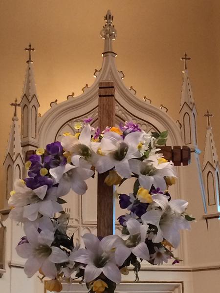 Flower Wreath on Cross with Altar